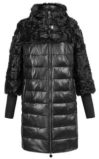 Куртка из натуральной кожи, комбинированной с мехом козлика La Reine Blanche