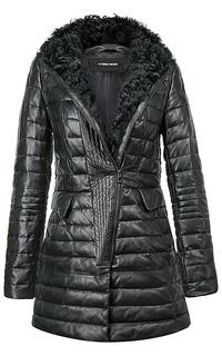 Удлиненная куртка из натуральной кожи с отделкой мехом козлика La Reine Blanche