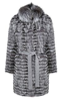 Жакет из меха серебристо-черной лисы на трикотажной основе Virtuale Fur Collection