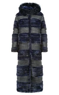 Комбинированная шуба из вязаного меха норки Virtuale Fur Collection