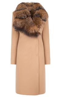 шерстяное пальто с воротником из меха лисы Элема