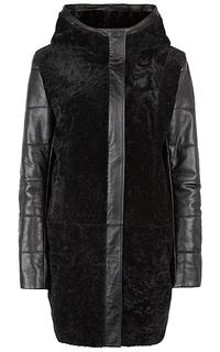 Удлиненная куртка из натуральной кожи и овчины La Reine Blanche