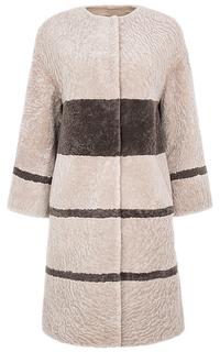 Шуба из овчины с отделкой натуральной кожей Virtuale Fur Collection