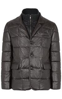 стеганая кожаная куртка на синтепоне Al Franco