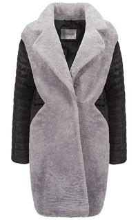 Комбинированное пальто-пуховик из овчины Virtuale Fur Collection