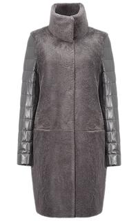 Комбинированная шуба из овчины и натуральной кожи Virtuale Fur Collection