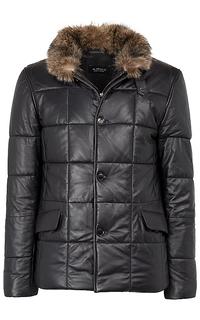 утепленная кожаная куртка с мехом енота Al Franco