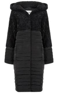 Комбинированное пальто-пуховик из овчины и текстиля Virtuale Fur Collection