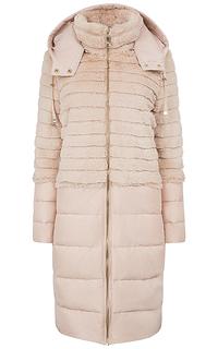 Пальто на натуральном пуху с отделкой искусственным мехом La Reine Blanche