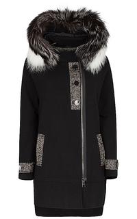 Шерстяное утепленное пальто с отделкой мехом лисы Violanti