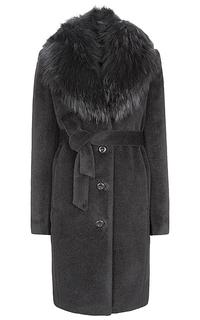 Утепленное пальто с воротником из меха енота Элема