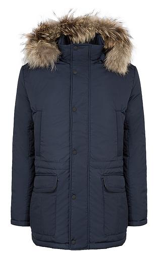 утепленная куртка с отделкой мехом енота