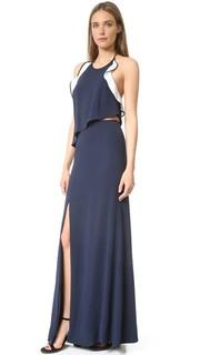 Вечернее платье из крепа с оборками и разрезом Jonathan Simkhai