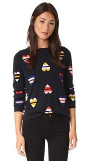 Кашемировый свитер с изображением сердечка в полоску Chinti and Parker