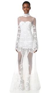 Кружевное вечернее платье с расклешенными рукавами Jonathan Simkhai