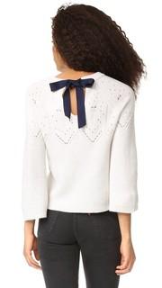 Укороченный кашемировый свитер с черным галстуком Autumn Cashmere