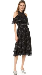 Платье с открытыми плечами и металлизированным рисунком в горошек Rebecca Taylor