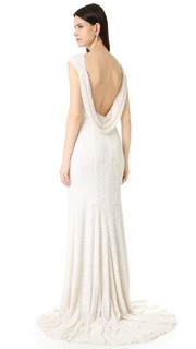 Вечернее платье Hayden с короткими рукавами и воротником-хомутом на спине Theia