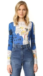 Delaina Pritned Long Sleeve Crop Top Alice + Olivia
