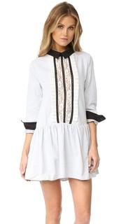 Платье-рубашка с кружевной вставкой спереди English Factory