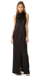 Атласное вечернее платье с драпированным вырезом и поясом Halston Heritage