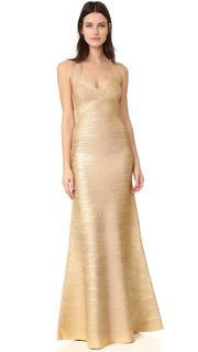 Длинное платье с американской проймой Herve Leger