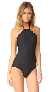 Сплошной купальник Marina Piccola с зубчатым краем и высоким воротником Kate Spade New York