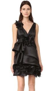 Коктейльное платье из органзы и атласа Marchesa