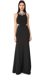 Вечернее платье из крепа с вырезами Marchesa Notte