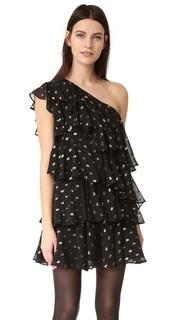 Платье с открытым плечом, оборками и рисунком в горошек Cynthia Rowley