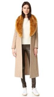Шерстяное пальто с воротником из искусственного меха Helmut Lang