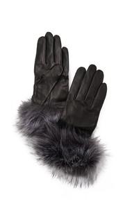 Перчатки с отделкой из искусственного меха лисы Kate Spade New York