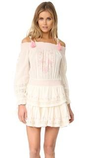 Мини-платье с присборенными оборками Loveshackfancy