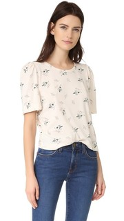 Искусственно состаренная футболка с короткими рукавами и цветочным принтом La Vie Rebecca Taylor