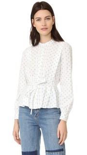Блуза из ткани в рубчик с мелким цветочным принтом La Vie Rebecca Taylor