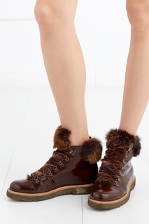Кожаные ботинки с мехом кролика AGL