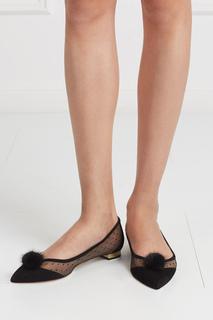 Туфли Baby Zarina из замши и норки Aquazzura