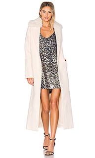 Melton column coat with faux fur collar - KENDALL + KYLIE