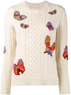 трикотажный джемпер с вышивкой бабочек Valentino
