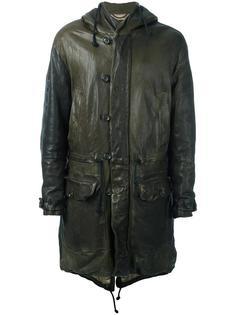 кожаное пальто с капюшоном Pihakapi