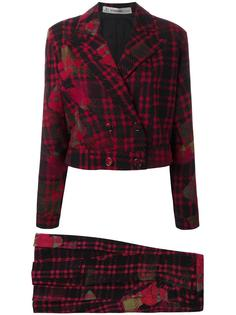 tartan skirt suit Jean Louis Scherrer Vintage