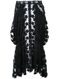 прозрачная юбка с цветочными элементами Simone Rocha
