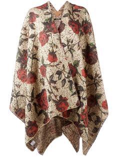 roses pattern knit poncho Ermanno Gallamini