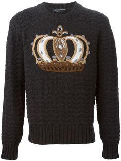 свитер с вышивкой короны  Dolce & Gabbana