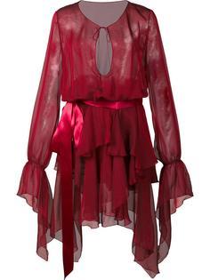 ruffled semi sheer dress Alexandre Vauthier