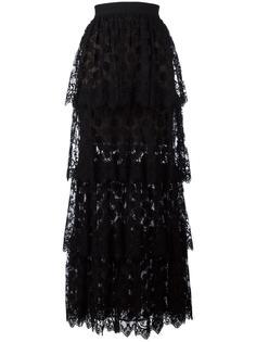 многослойная кружевная длинная юбка  Elie Saab