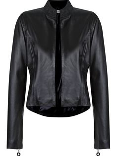 open front leather jacket Martha Medeiros