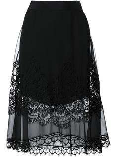 юбка А-силуэта с кружевным слоем Alberta Ferretti