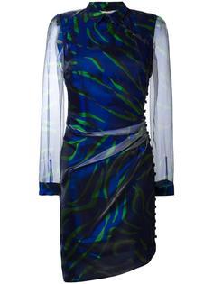 asymmetric sheer sleeve dress Marco De Vincenzo