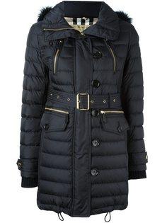 пальто-пуховик  с меховой оторочкой Burberry
